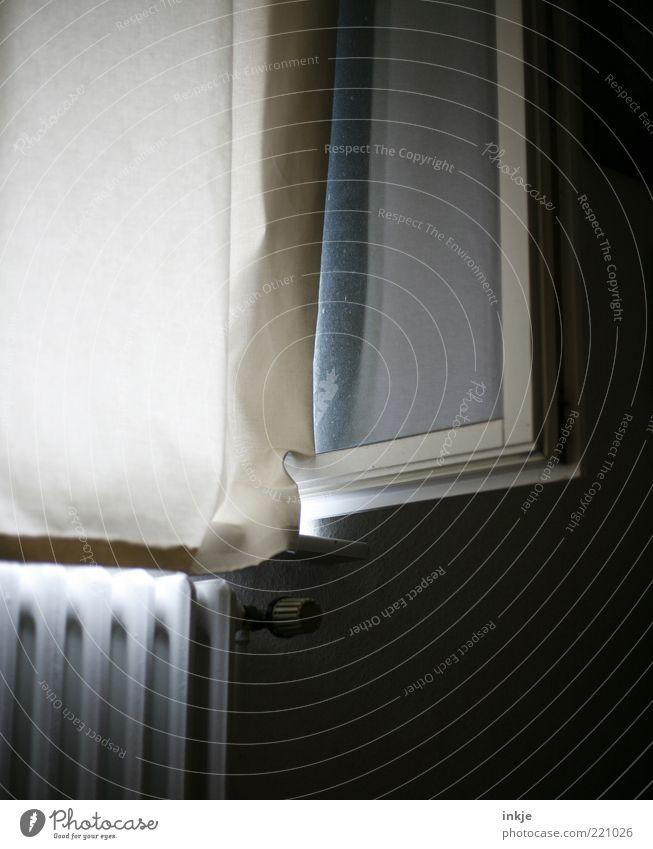 das Fenster zum frühen Morgen... weiß Einsamkeit ruhig Ferne Leben Traurigkeit Luft Stimmung Raum Wohnung offen frisch Häusliches Leben Trauer Stoff