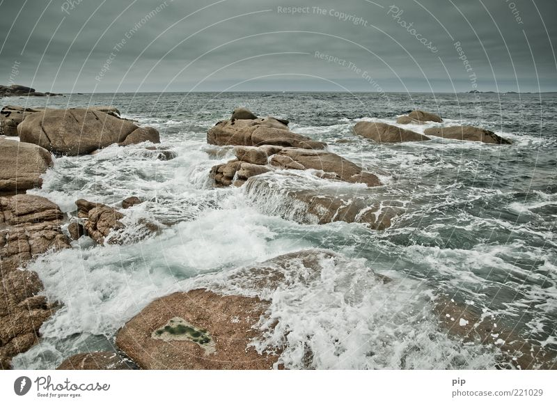 krieg der elemente Natur Wasser Himmel Meer Sommer grau Kraft Küste Wellen Wind Wetter Umwelt nass Horizont Felsen Klima