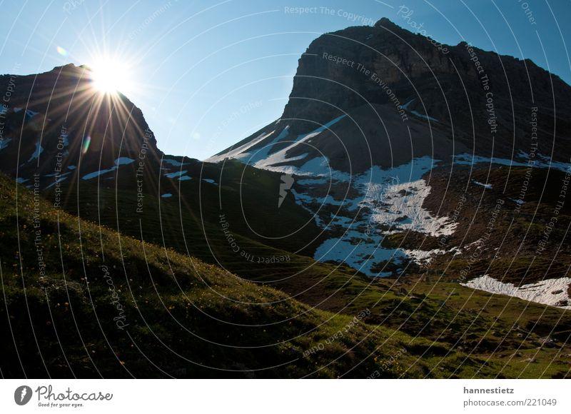 Ein neuer Tag Natur Ferien & Urlaub & Reisen Sonne Sommer Blume Wiese Landschaft Schnee Berge u. Gebirge Felsen Freizeit & Hobby Tourismus Alpen Gipfel Bayern Alm