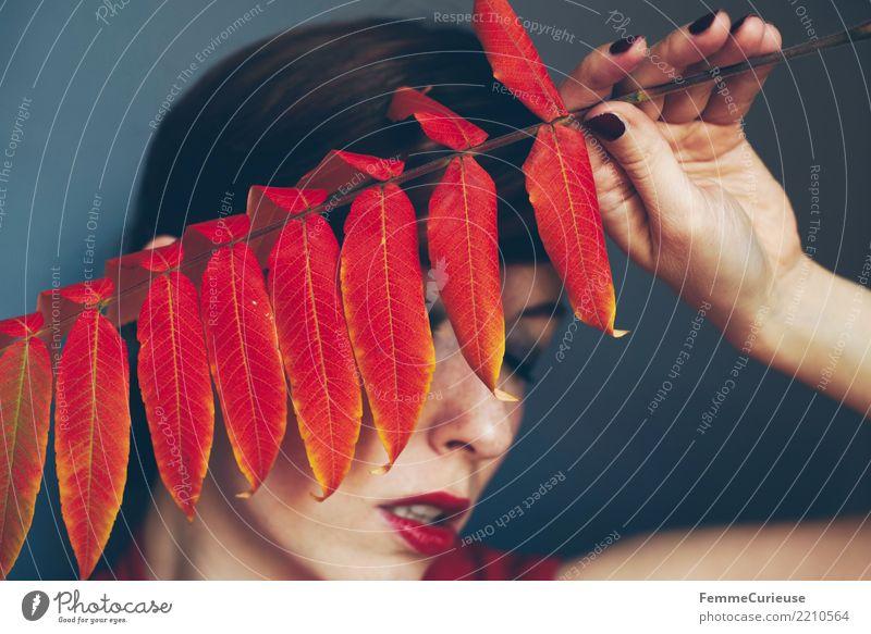 Autumn 06 feminin Junge Frau Jugendliche Erwachsene 1 Mensch 18-30 Jahre 30-45 Jahre schön Herbst herbstlich Blatt Farbe Naturliebe Naturkosmetik Schminke