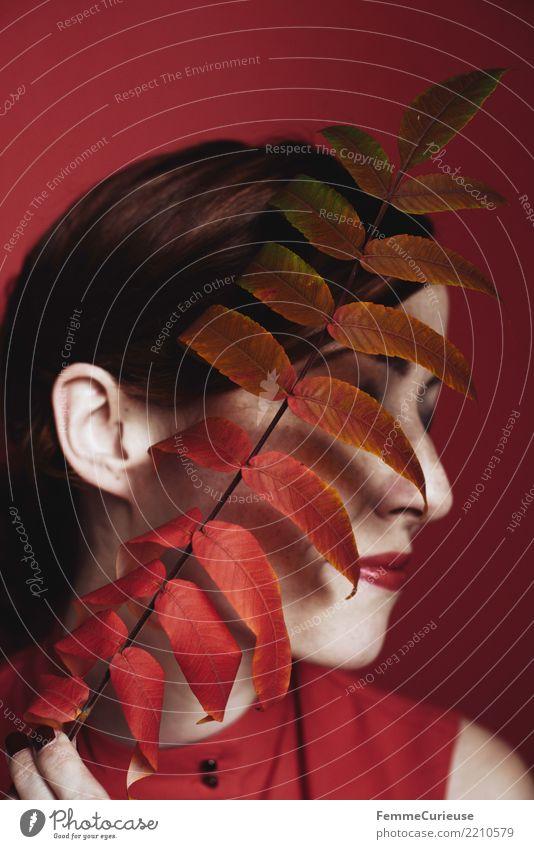 Portrait of a woman behind red autumn leaves feminin Junge Frau Jugendliche Erwachsene 1 Mensch 18-30 Jahre 30-45 Jahre Natur schön Naturliebe Naturkosmetik