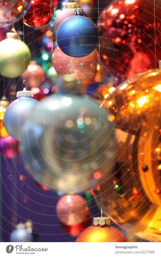 Kugelbunt V Weihnachten & Advent glänzend Glas Fröhlichkeit rund Dekoration & Verzierung Kugel leuchten viele Christbaumkugel mehrfarbig Haken Weihnachtsdekoration Weihnachtsmarkt hängend Lomografie