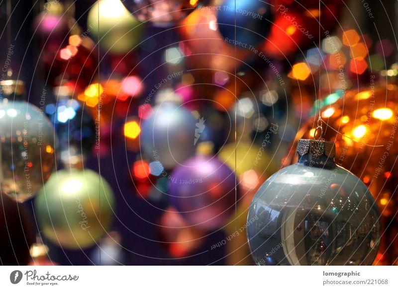 KugelbuntVI Stil leuchten glänzend Kitsch Weihnachten & Advent Christbaumkugel mehrfarbig rund strahlend Beleuchtung hängend Haken aufhängen