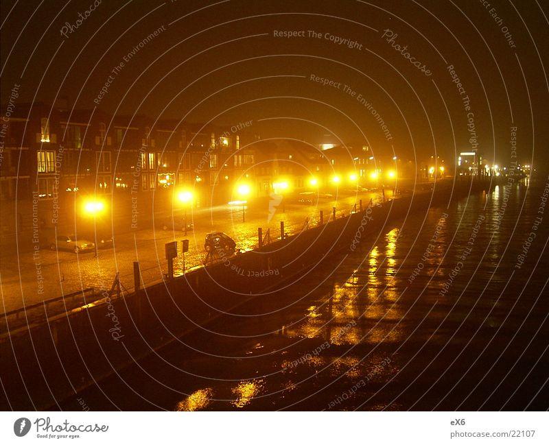 Die Promenade Licht historisch Hafen Wasser Lampe Stimmung