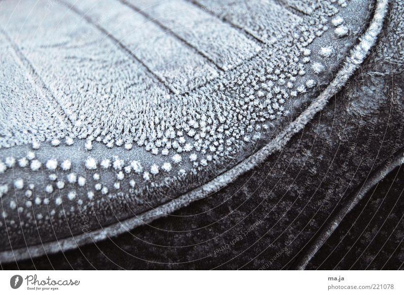 Novembermorgen Herbst Eis Frost Motorrad Motorradsitz kalt schwarz weiß Außenaufnahme Nahaufnahme Menschenleer Eisschicht Sitz gefroren Raureif Detailaufnahme