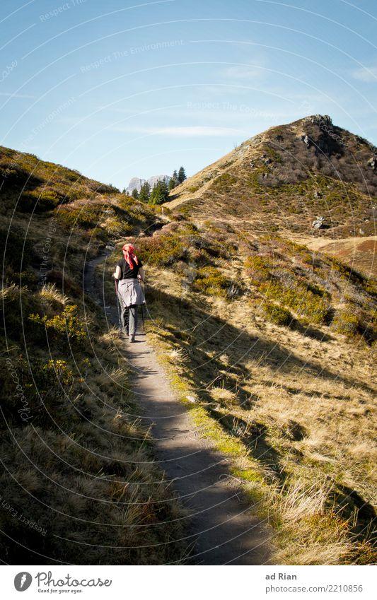 Wanderwetter V Ferien & Urlaub & Reisen Tourismus Ausflug Abenteuer Ferne Freiheit Berge u. Gebirge wandern feminin Frau Erwachsene 1 Mensch Umwelt Natur