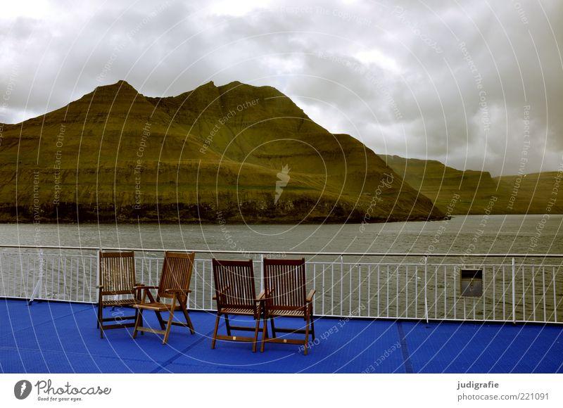 Färöer Ferien & Urlaub & Reisen Tourismus Ferne Kreuzfahrt Meer Stuhl Umwelt Natur Landschaft Wasser Himmel Wolken Klima schlechtes Wetter Felsen