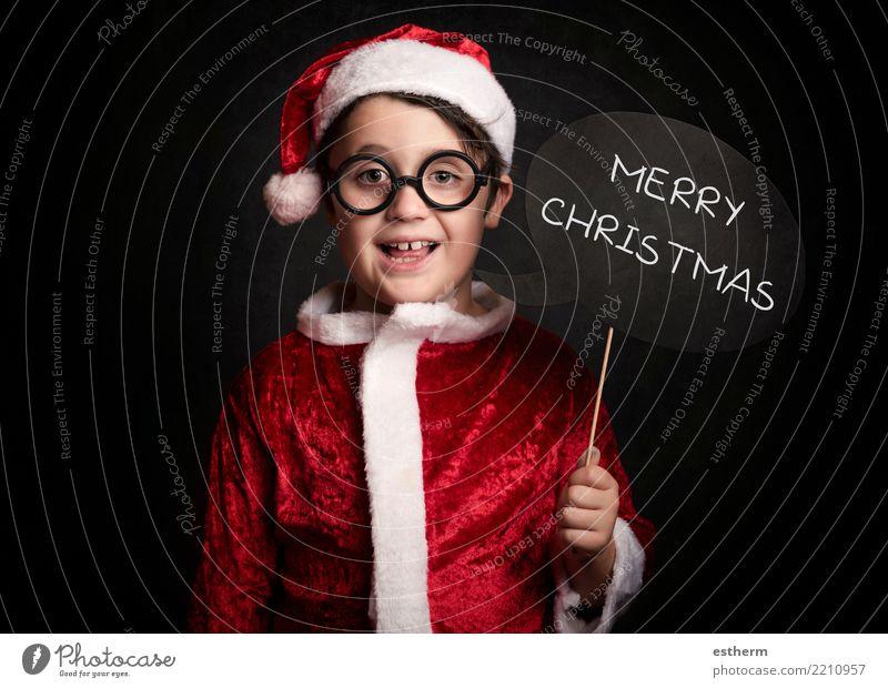 lustiger Junge an Weihnachten Kind Mensch Ferien & Urlaub & Reisen Weihnachten & Advent Freude Winter Lifestyle Gefühle lachen Feste & Feiern Party maskulin