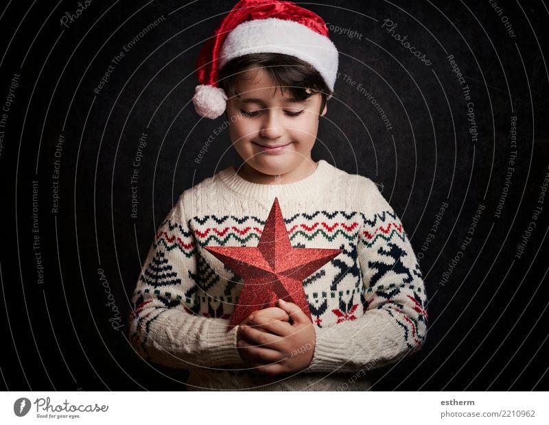 glückliches Kind zu Weihnachten Mensch Ferien & Urlaub & Reisen Weihnachten & Advent Lifestyle Liebe Gefühle Glück Feste & Feiern Party maskulin träumen