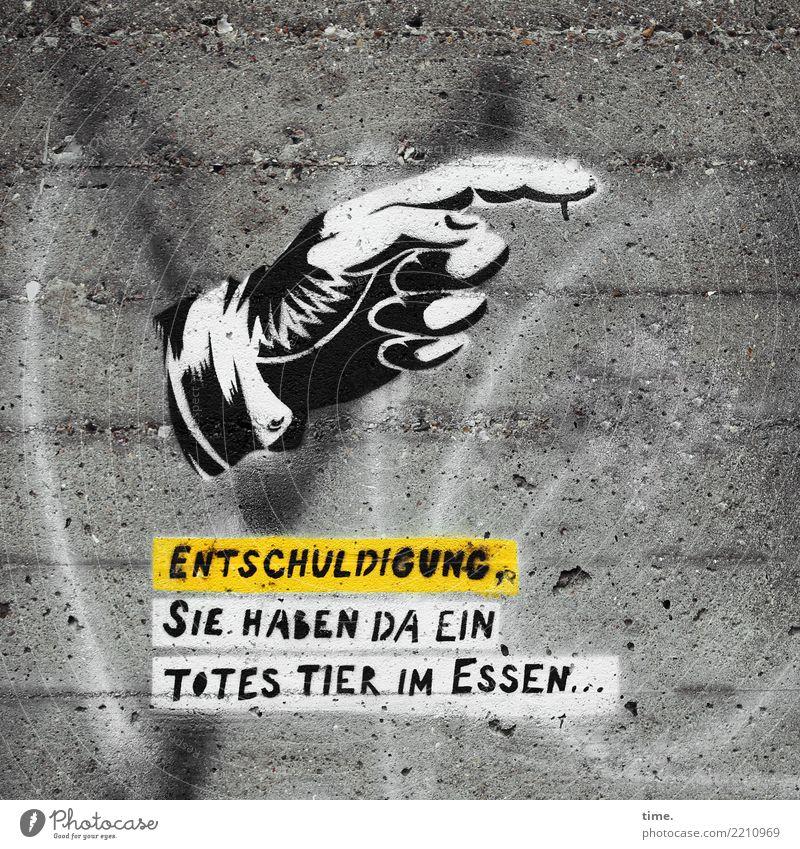 Festplatte | versaut Lebensmittel Fleisch Wurstwaren Fisch Ernährung Büffet Brunch Festessen Vegetarische Ernährung Hand Kunst Kunstwerk Mauer Wand Beton