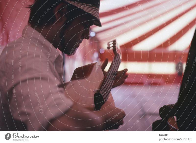 Stimmung machen Mensch Mann ruhig Erwachsene maskulin Konzert Konzentration hören Bart Hut Gitarre Zirkus Musiker Musikinstrument alternativ Genauigkeit