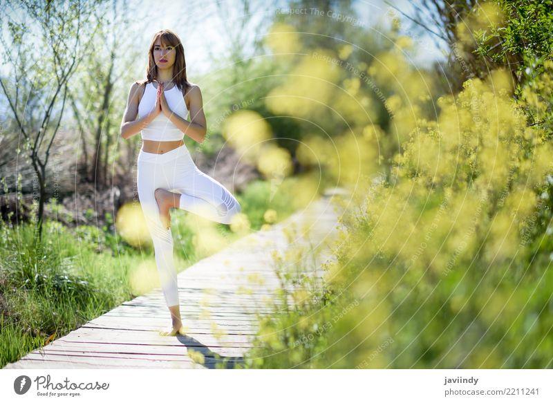 Junge Frau, die Yoga auf hölzerner Straße in der Natur tut. Mensch Jugendliche Sommer schön weiß Baum Erholung 18-30 Jahre Erwachsene Lifestyle natürlich