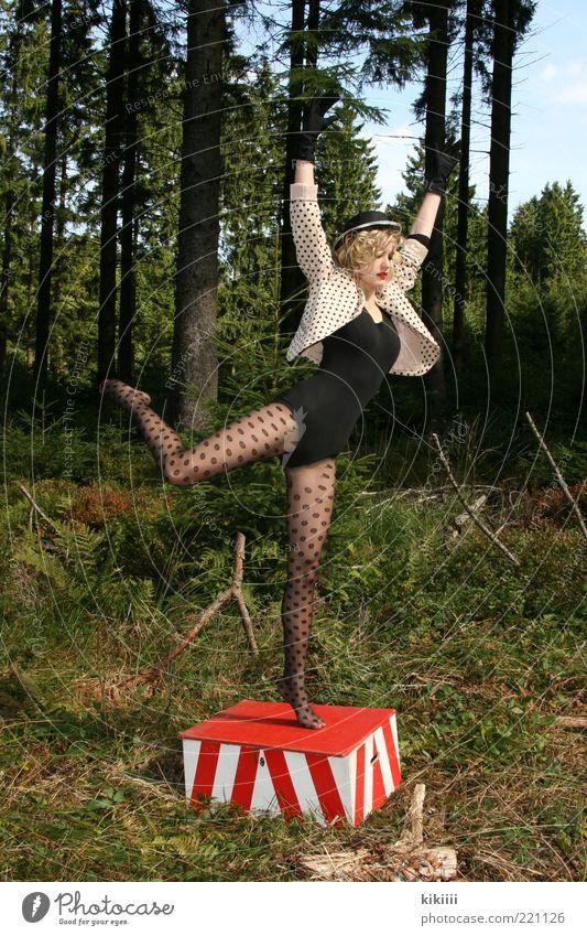 Pünktchen feminin Junge Frau Jugendliche 1 Mensch 18-30 Jahre Erwachsene Theaterschauspiel Tanzen Balletttänzer Zirkus Natur Baum Wald Mode Strumpfhose Hut