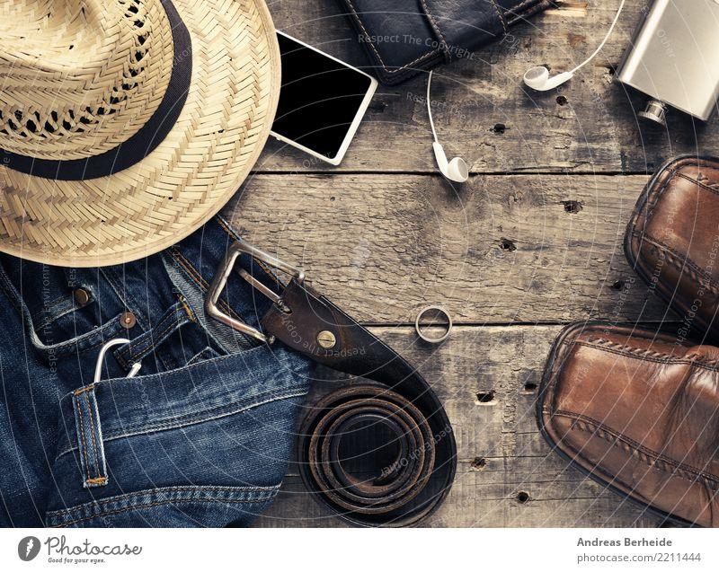 Anziehen und los Ferien & Urlaub & Reisen Sommer Leben Stil Mode retro Schuhe Bekleidung Hose Handy Hut Top Gürtel Hipster Headset