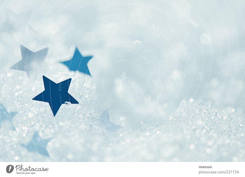 Eissterne Natur blau weiß Winter kalt Schnee hell glänzend Eis frisch Stern Stern (Symbol) Zeichen Frost Kitsch Frieden