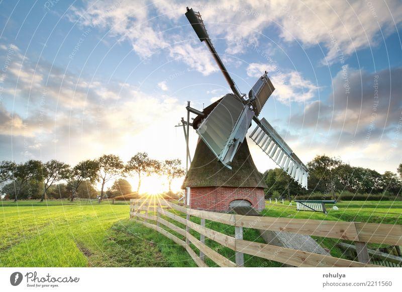 schöner Sonnenaufgang hinter holländischer Windmühle Ferien & Urlaub & Reisen Sommer Natur Landschaft Himmel Wolken Schönes Wetter Gras Wiese Gebäude