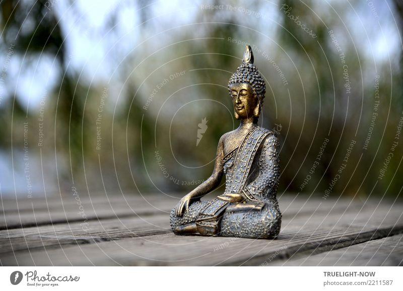 Buddhafigur auf Anlegesteg am Fluss blau Sommer grün Baum Erholung ruhig Leben Herbst Gesundheit Kunst Glück Freiheit grau See Zufriedenheit gold