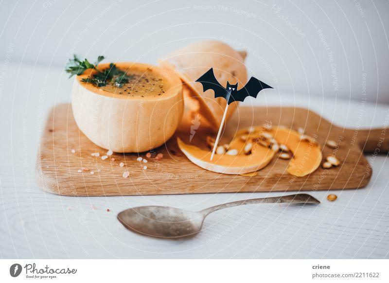Halloween-Kürbissuppe Lebensmittel Gemüse Suppe Eintopf Ernährung Essen Vegetarische Ernährung Schalen & Schüsseln Löffel Winter Dekoration & Verzierung Herbst