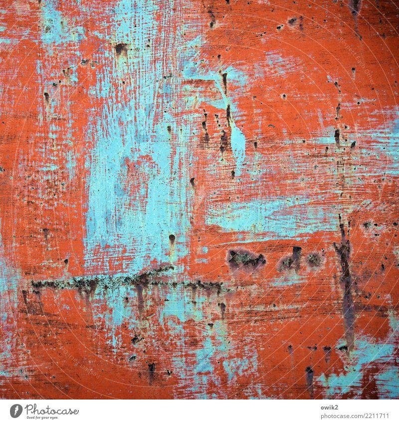 Vergeltung Blech mehrfarbig Abdeckung Metall verrückt Wut rot türkis Kraft gereizt Aggression Gewalt Vergänglichkeit Zerstörung Farbstoff Kratzer Spuren