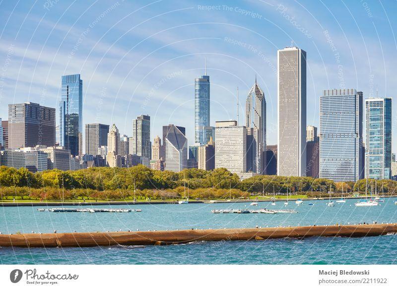 Chicago Skyline der Stadt. Himmel Stil Gebäude Wohnung Büro Park Hochhaus elegant Erfolg USA kaufen Fotografie Geld Städtereise Stadtzentrum