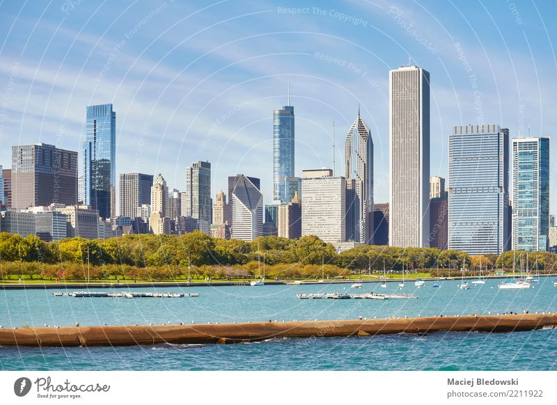 Chicago Skyline der Stadt. Reichtum elegant Stil Sightseeing Städtereise Wohnung Büro Himmel Park Stadtzentrum Hochhaus Bankgebäude Gebäude kaufen Erfolg
