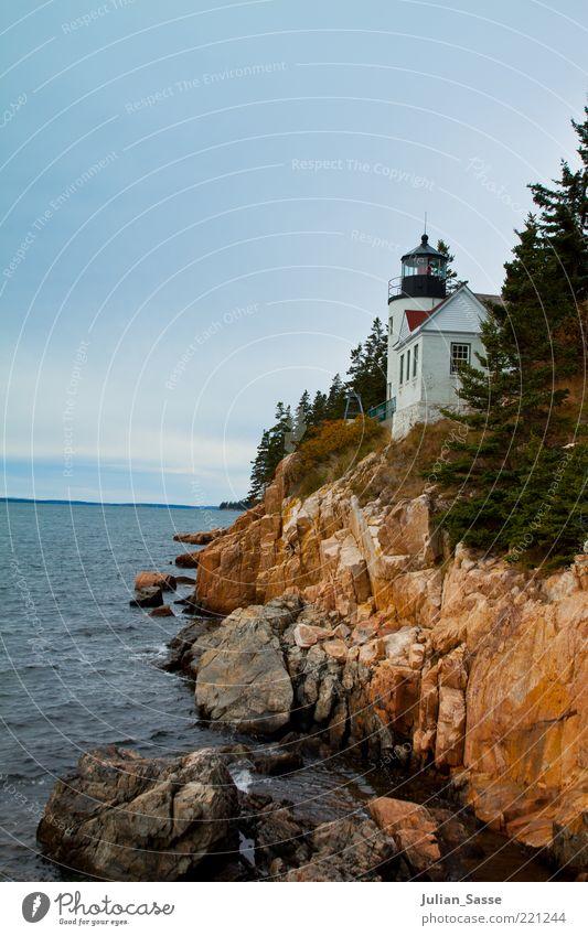 Lighthouse Natur Wasser Himmel blau Pflanze Wolken Ferne Herbst Stein Gebäude Landschaft Orange Wellen Wind Umwelt Felsen