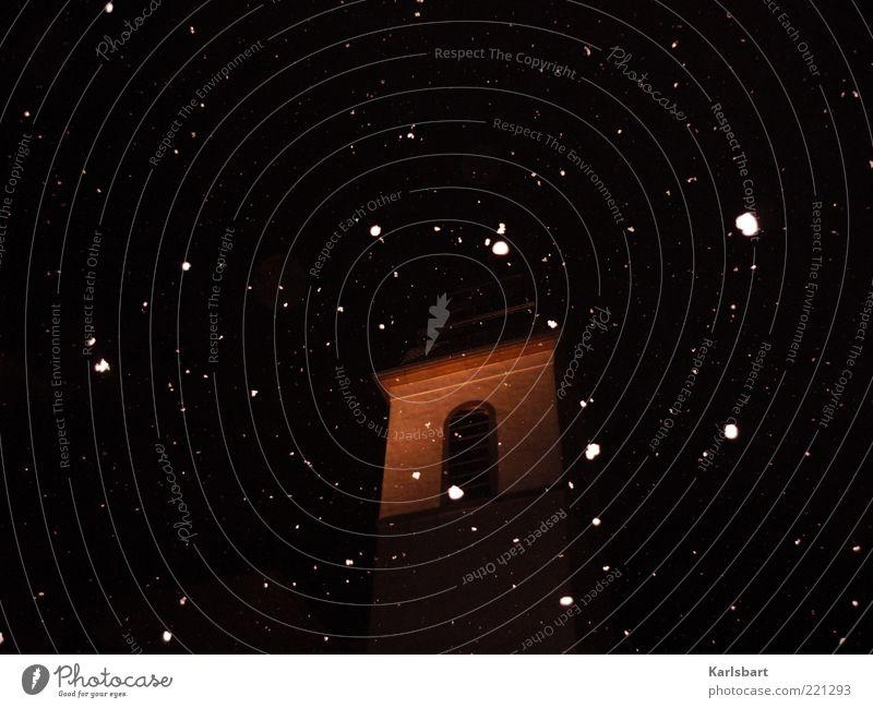 die stunde. 300 Sightseeing Städtereise Winter Schnee Himmel Nachthimmel Schneefall Kirche Turm Bauwerk Gebäude Architektur Religion & Glaube Barock Farbfoto