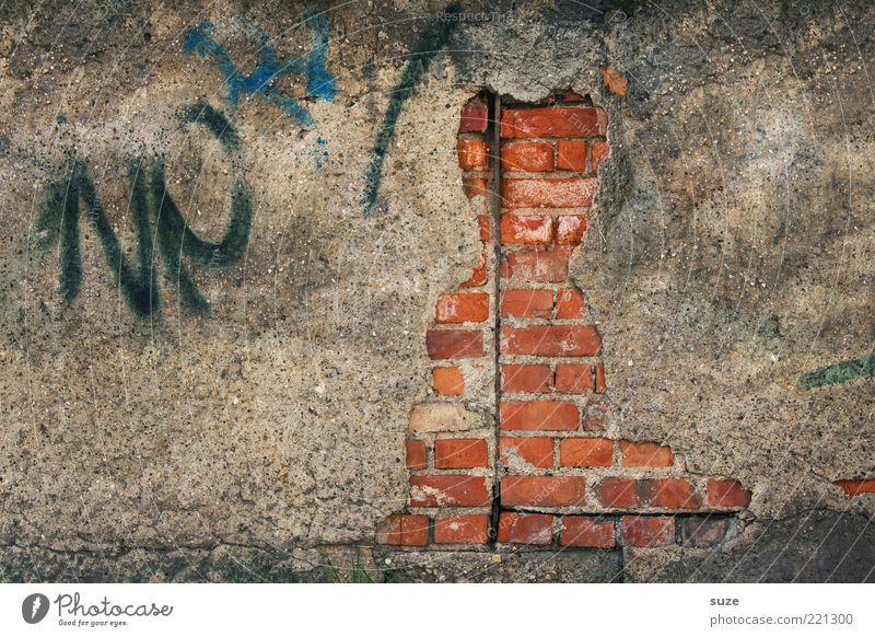 Hauskatze Kunst Kunstwerk Mauer Wand Fassade Katze alt authentisch dreckig lustig stagnierend Verfall Vergangenheit Vergänglichkeit verfallen obskur Figur Putz