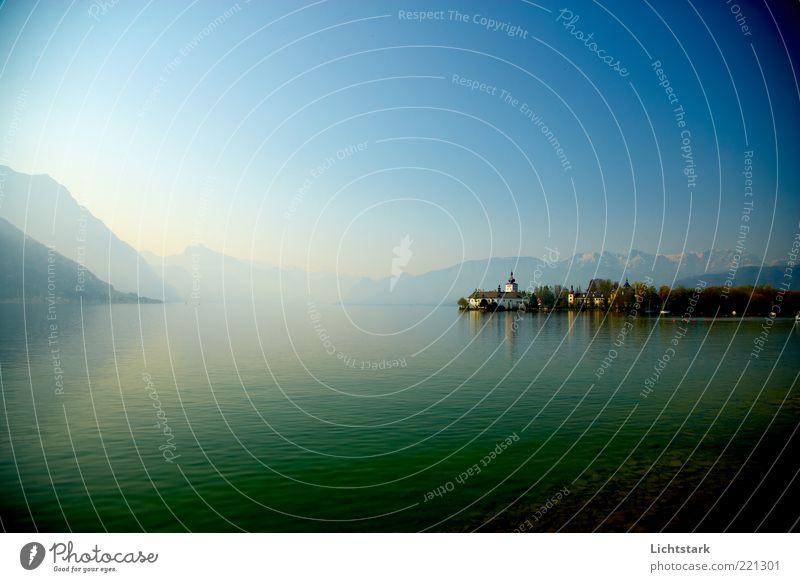 stille - hörst du? Natur blau Wasser Landschaft ruhig Ferne Berge u. Gebirge Gefühle Freiheit träumen Zufriedenheit Schönes Wetter ästhetisch Alpen genießen