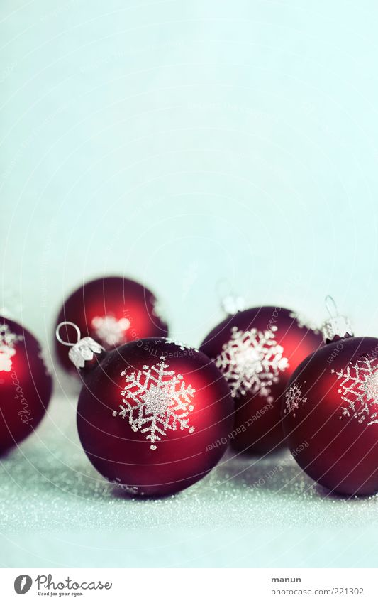Christbaumkugeln Weihnachten & Advent rot Stimmung Feste & Feiern glänzend liegen mehrere Symbole & Metaphern Zeichen Kugel Weihnachtsdekoration Vorfreude