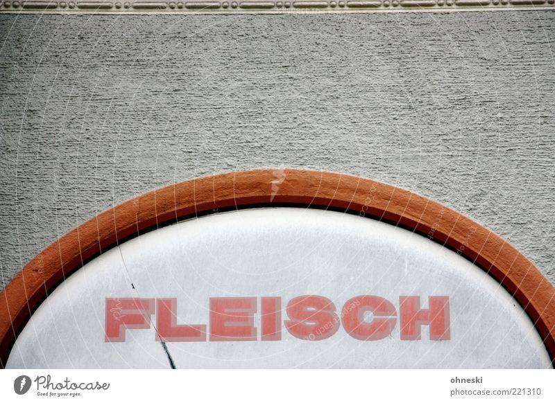 Nur Fleisch Wand Mauer Schilder & Markierungen Fassade Schriftzeichen Werbung Ladengeschäft Typographie Handel Gewerbe Metzgerei Putzfassade Blockschrift