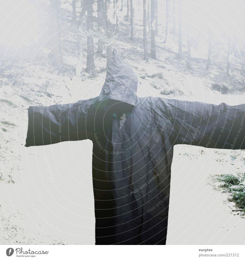 Grüß Gott, i bin der Tod! Mensch Mann schwarz Erwachsene Tod dunkel Schnee Traurigkeit Stimmung maskulin gefährlich Bekleidung bedrohlich gruselig Baumstamm böse
