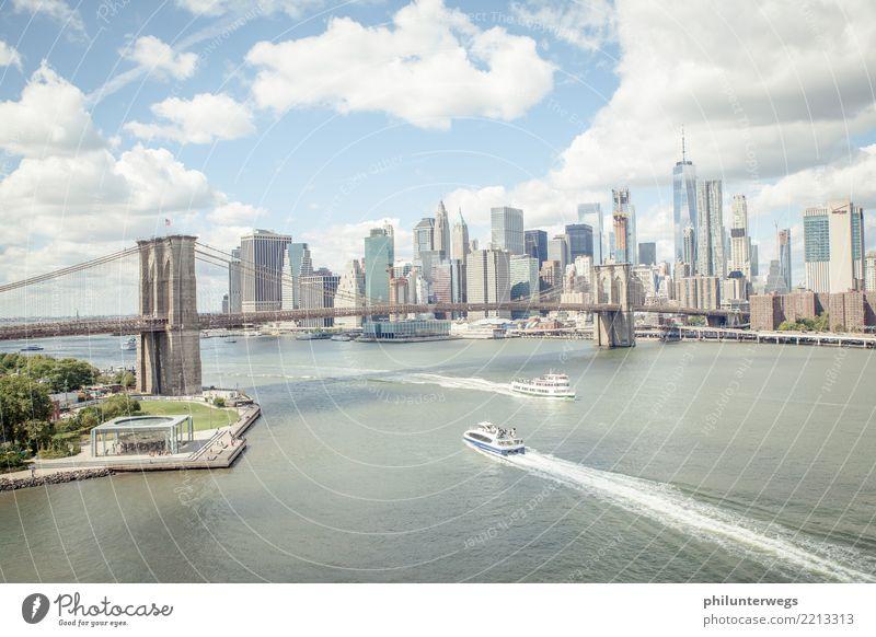 |100| Standardpanorama - Brooklyn Bridge mit Manhattan Skyline Sonne Schönes Wetter Park Küste Flussufer New York City USA Amerika Stadt Hafenstadt Stadtzentrum