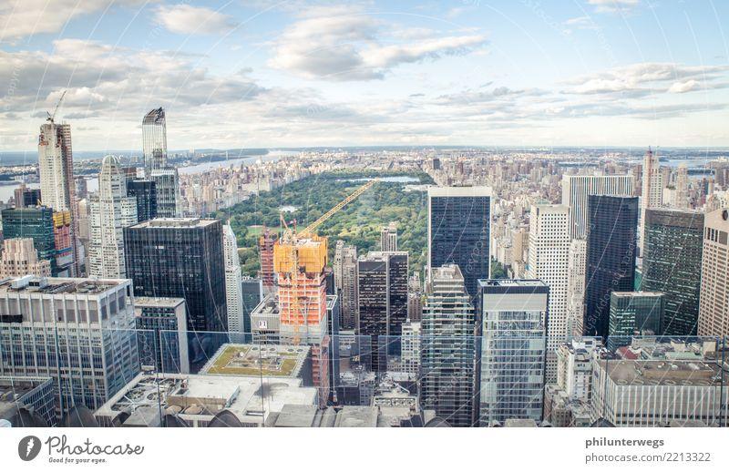 Blick vom Rockefeller Center auf den Central Park, New York City elegant Tourismus Sightseeing Städtereise Himmel Schönes Wetter Wiese Manhattan USA Stadt