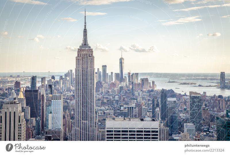 Empire State Building und Manhattan, New York City Ferien & Urlaub & Reisen Stadt Ferne Fenster Architektur Wand Küste Tourismus Mauer Freiheit Fassade Ausflug
