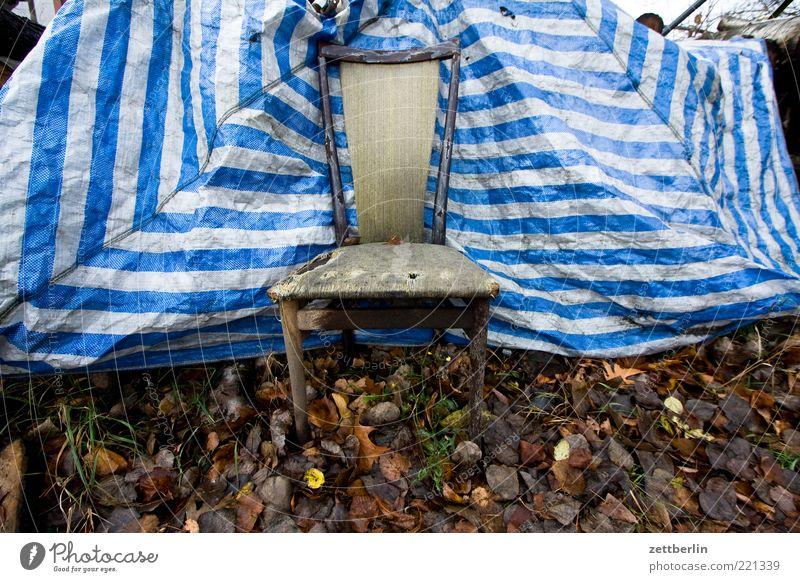 Stuhl Möbel Sessel Natur Herbst Wiese alt trashig Sperrmüll Streifen Abdeckung Herbstlaub Sichtschutz Müll entsorgen Blatt Sitzgelegenheit Polster Thron Mitte