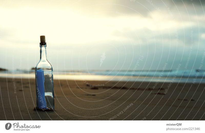 oneiric. ästhetisch ruhig Romantik altmodisch Flaschenpost träumen traumhaft Strand Surrealismus Information Mitteilung Kommunizieren Kommunikationsmittel