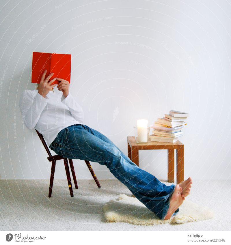 facebook Mann rot ruhig Haus Leben Raum Buch Erwachsene Wohnung sitzen Tisch Lifestyle lernen lesen Jeanshose Kerze