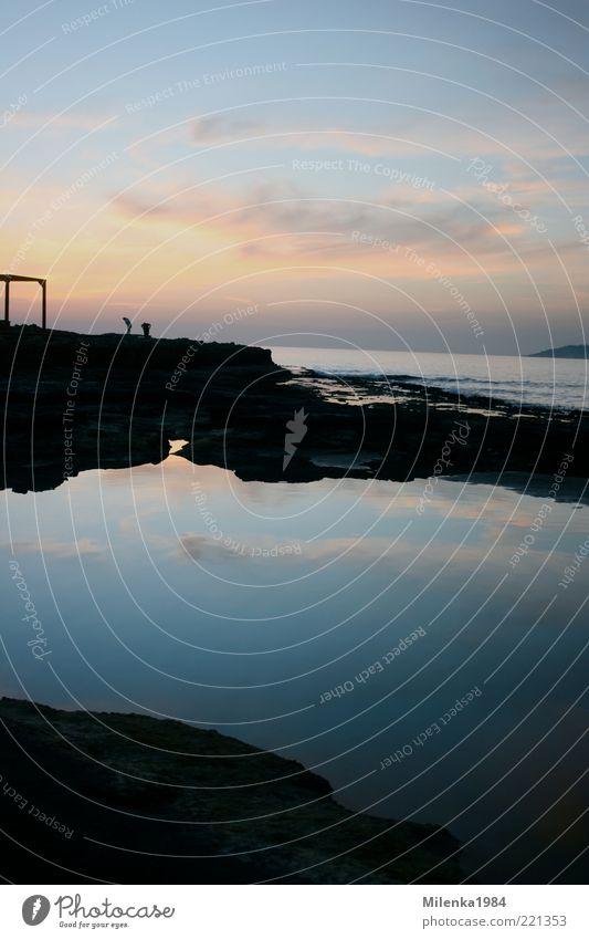 Himmel und Erde ruhig Natur Wasser Wolken Horizont Sonnenaufgang Sonnenuntergang Schönes Wetter Küste Meer Glück Mittelmeer Felsen Reisefotografie Farbfoto