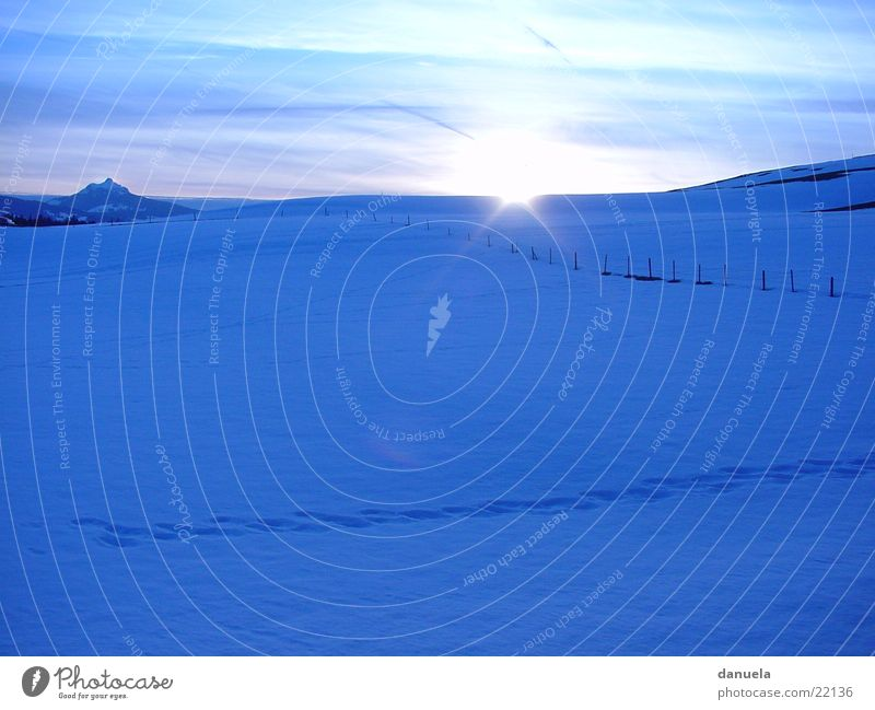 Sundown in winter Winter Schnee Wiese Berge u. Gebirge Eis Alpen Bayern