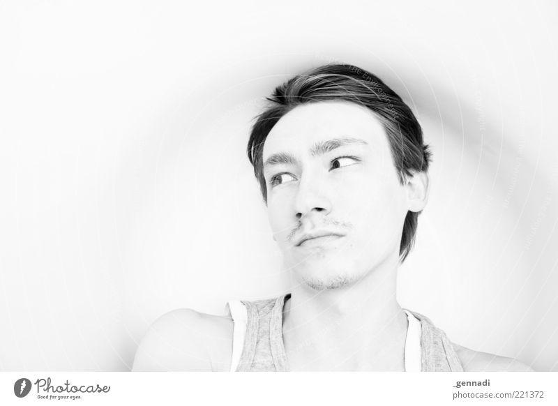 Macho oder Softie? maskulin Junger Mann Jugendliche Erwachsene Haut Kopf Gesicht Augenbraue 1 Mensch 18-30 Jahre Haare & Frisuren kurzhaarig Bart frech