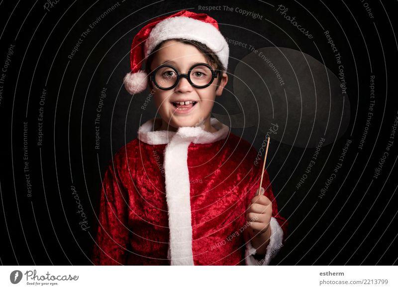 lustiger Junge an Weihnachten Kind Mensch Ferien & Urlaub & Reisen Weihnachten & Advent Winter Lifestyle Gefühle lachen Feste & Feiern Party maskulin Kindheit