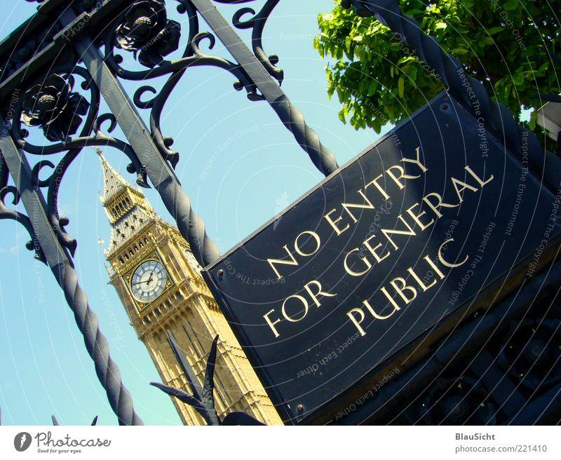 Pub licity ? blau grün gold Schriftzeichen Hinweisschild London Zaun Eingang Publikum Sightseeing Verbote Sehenswürdigkeit normal Zugang zurückhalten Warnschild
