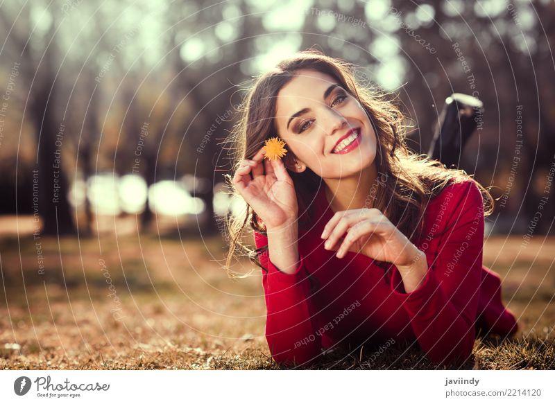 Frauenrest im Park mit einem Löwenzahn in ihrem Haar Mensch Natur Sommer schön Blume rot Erholung Gesicht Erwachsene Lifestyle Stil Gras Glück Haare & Frisuren