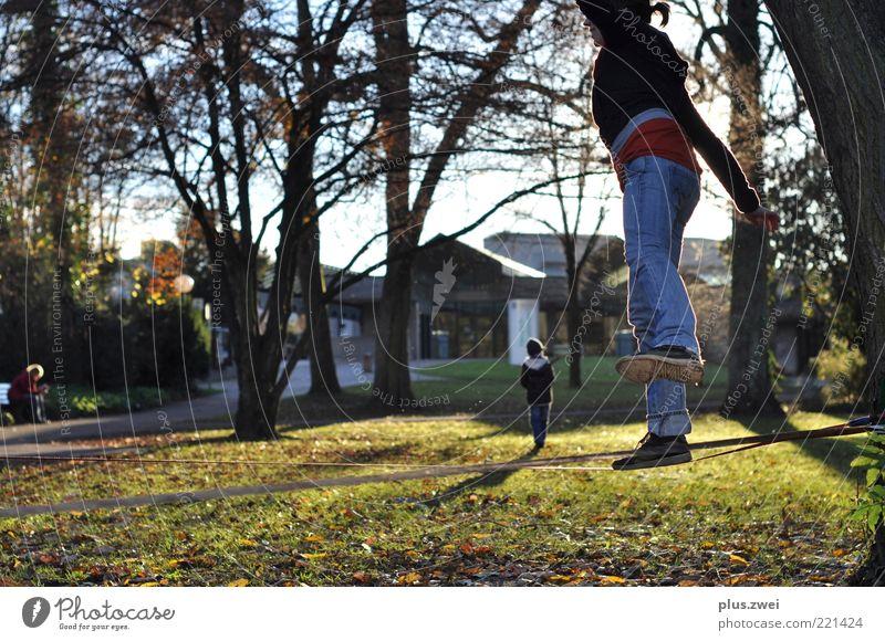 walk the line Mensch Natur Jugendliche Baum Freude Wiese Garten Park Zufriedenheit gehen Freizeit & Hobby laufen frei frisch Fröhlichkeit Coolness