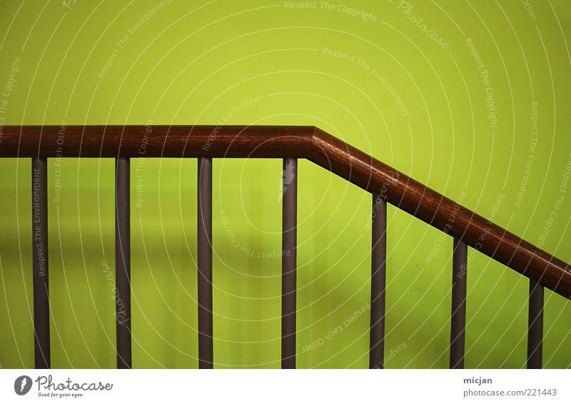 Re  Gression einfach Design Farbe modern Ordnung Geländer Treppengeländer Holz grün braun Geometrie Stab Wand Mauer neu Sicherheit Strukturen & Formen Farbfoto
