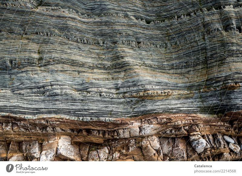 Textur   drüber und drunter Natur Felsen Klippe Stein stehen ästhetisch authentisch fest braun gelb grau orange Kraft Vergangenheit Glätte geschliffen Niveau