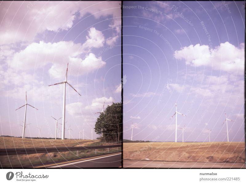 Windenergie verdoppeln! Natur Wolken Landschaft Umwelt Energiewirtschaft modern Elektrizität Netzwerk Zukunft Technik & Technologie Wandel & Veränderung Klima Sauberkeit Wissenschaften Windkraftanlage trashig
