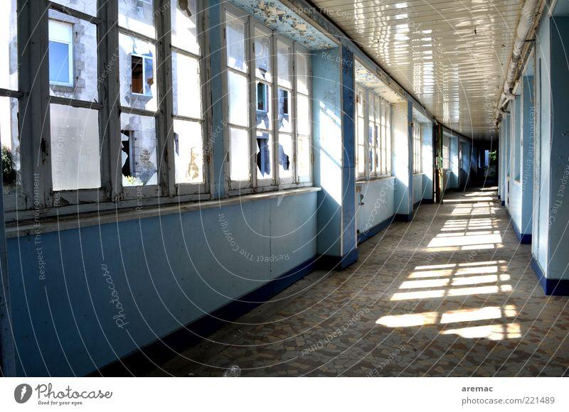 Schulschluss Schule Schulgebäude Haus Bauwerk Gebäude Architektur Fenster alt blau Ruine Farbfoto Gedeckte Farben Innenaufnahme Menschenleer Morgen Tag Licht