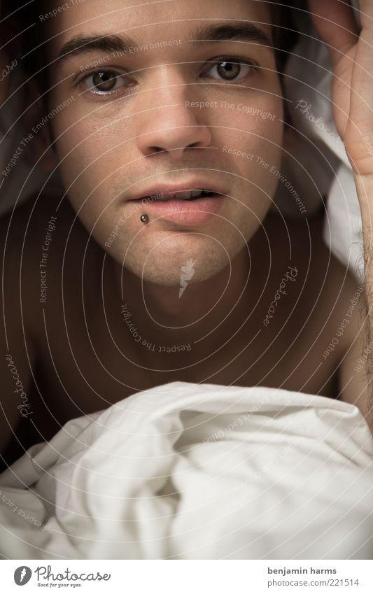 Bettgeflüster Mensch maskulin Junger Mann Jugendliche Leben Gesicht 1 18-30 Jahre Erwachsene Piercing Erholung liegen Glück schön kuschlig nah natürlich Wärme